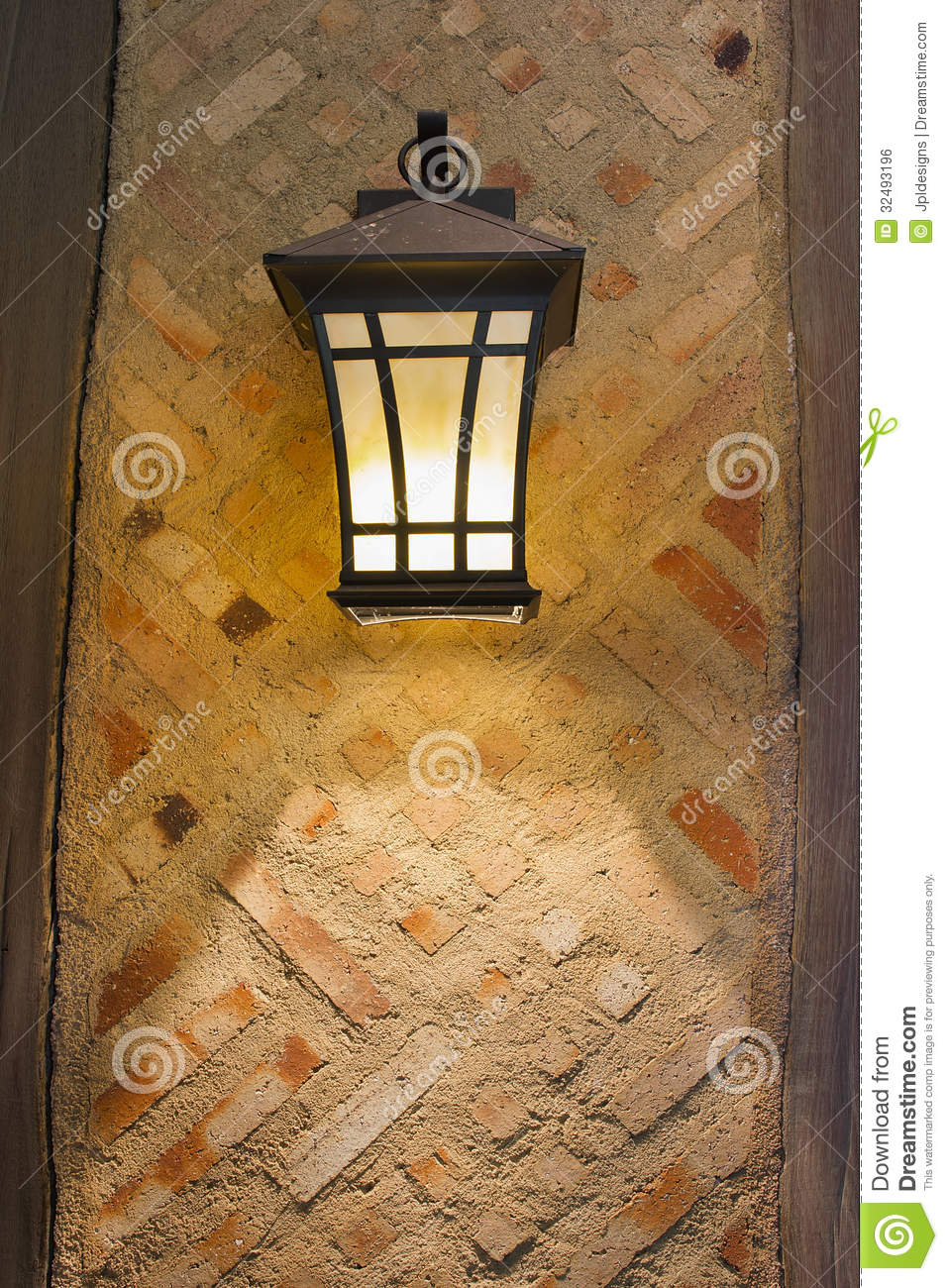 Craftsman Style Exterior Lamp On Exterior Wall Royalty Free Stock ...
