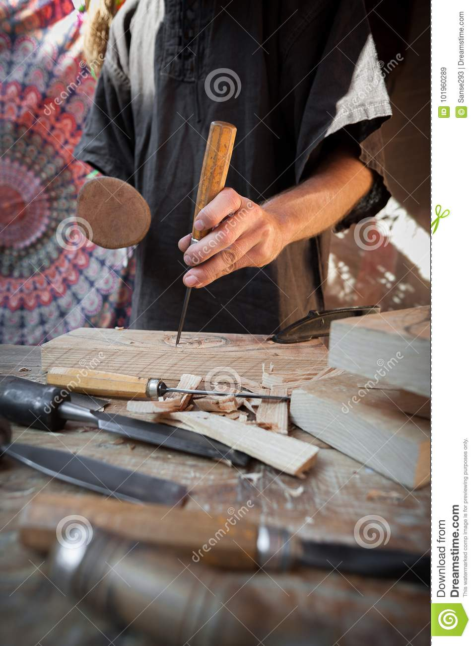 Wood Craftsman With Various Hand Tools Working Stock Image