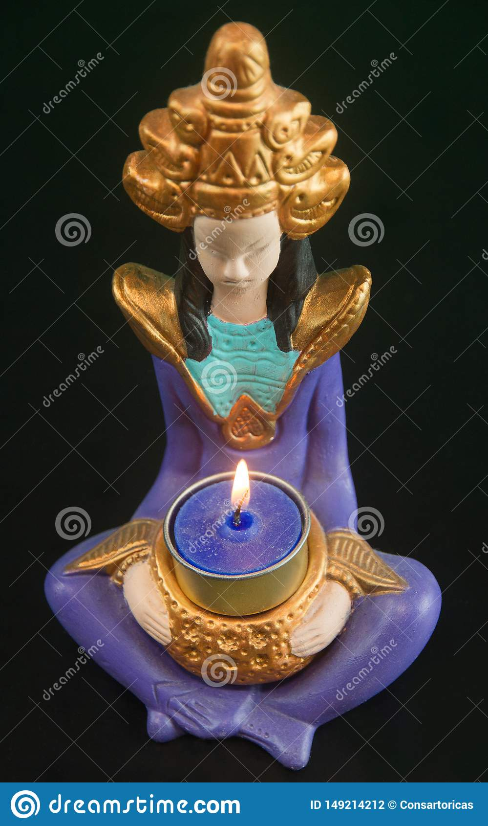 CRAFTSMANSHIP OF A RELIGIOUS WOMAN HOLDING A CANDLE