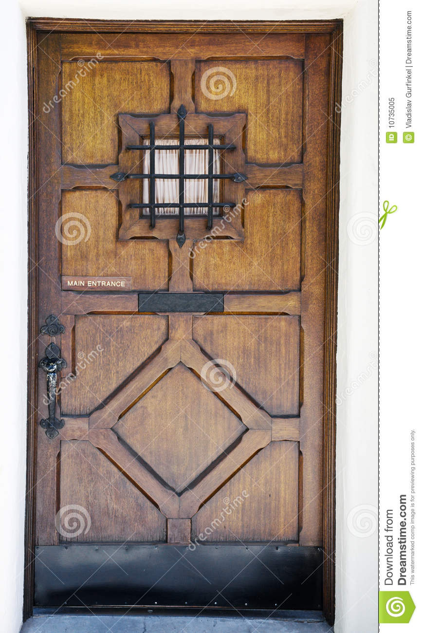 Crafty Wooden Door With Small Window Royalty Free Stock