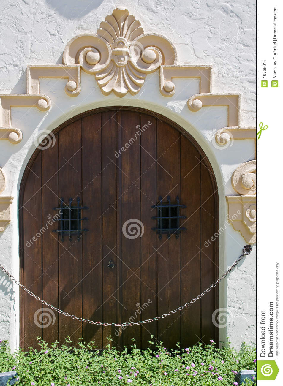 Crafty wooden door with small windows royalty free stock for Door with small window