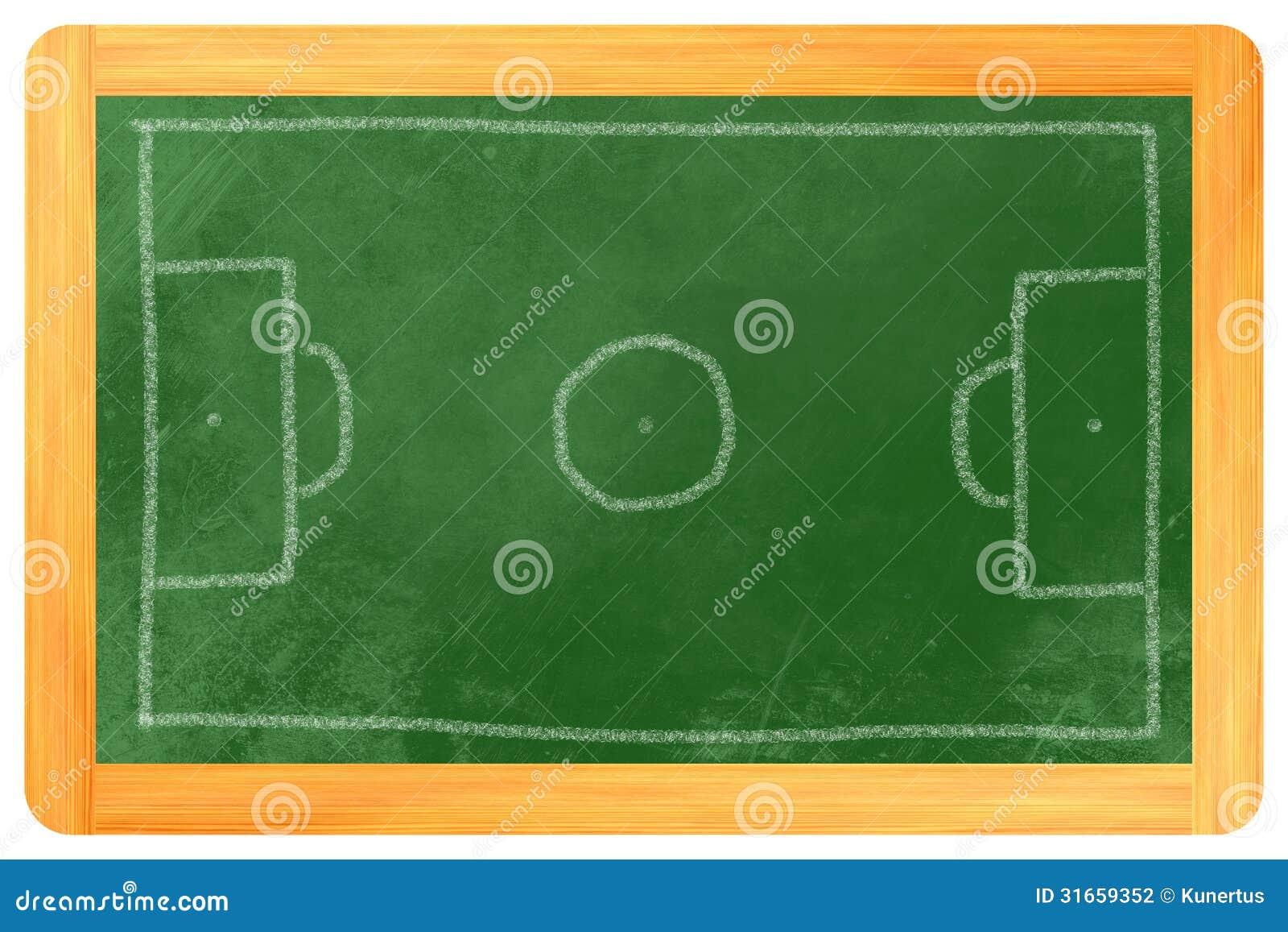 Craie de terrain de football sur le tableau noir for Ecrire sur un tableau noir