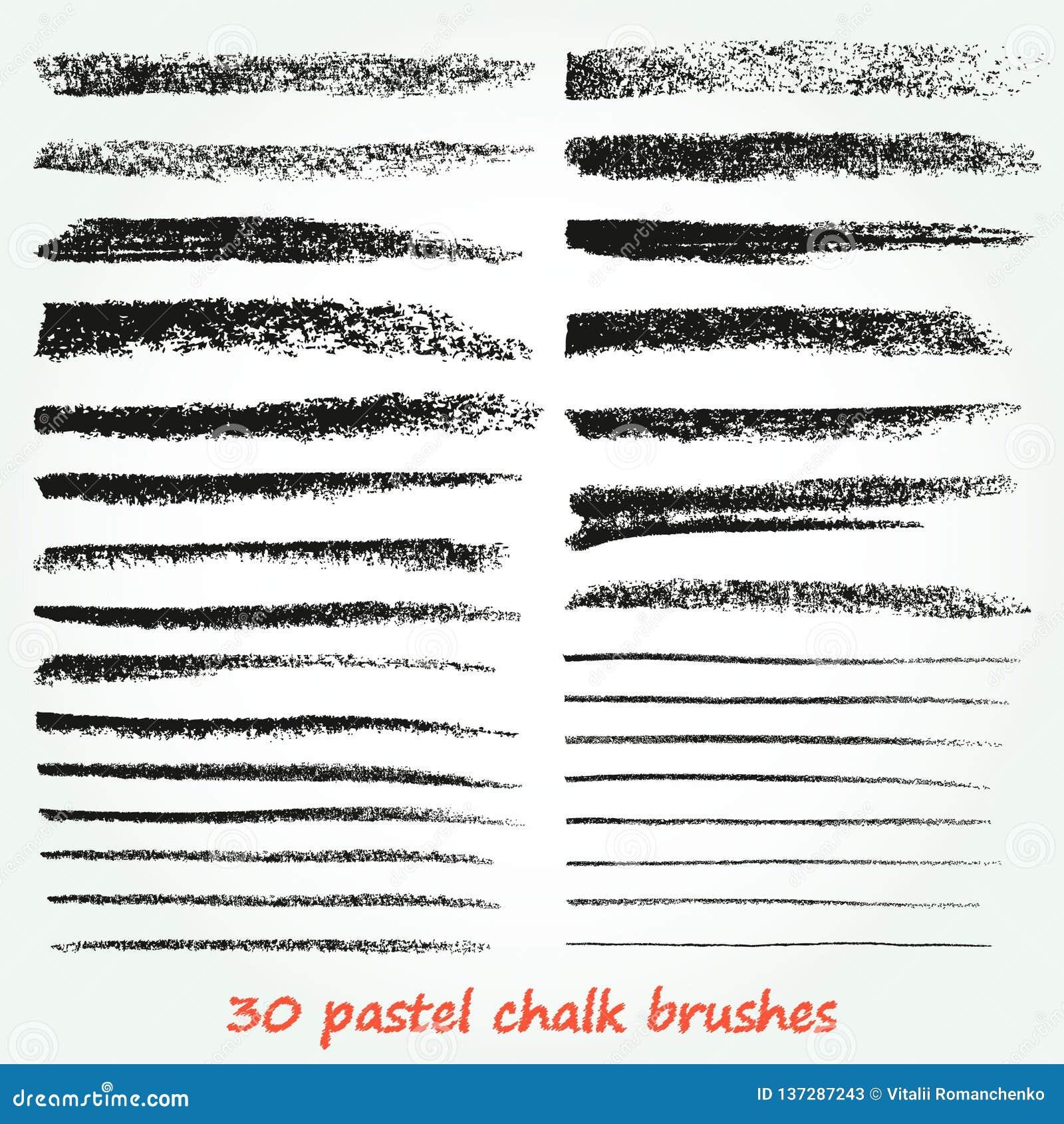 Craie et charbon de bois Un ensemble de traçages de vecteur Texture grunge Une haute résolution Des brosses sont stockées dans la
