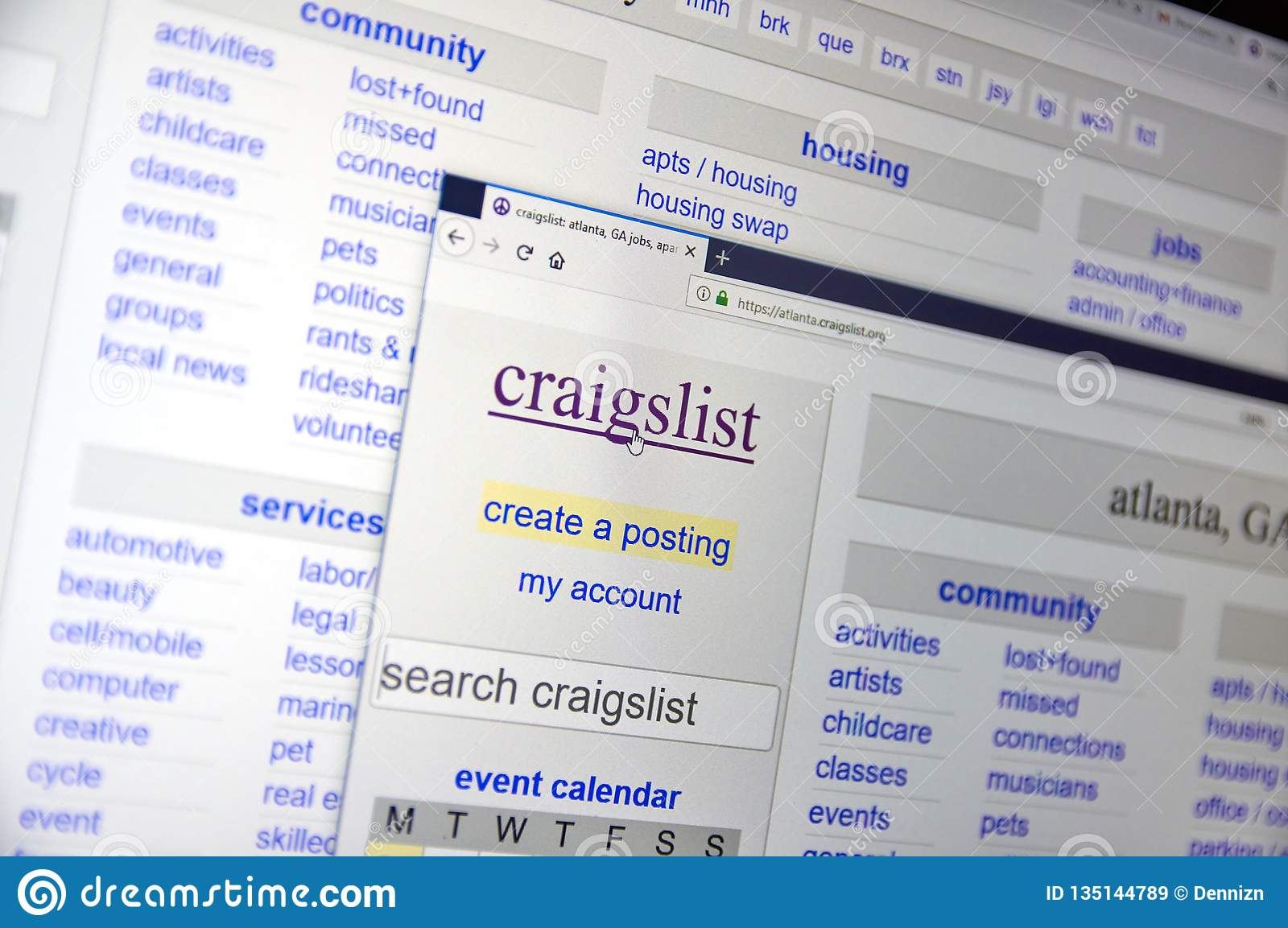Craigslist Offiicial Home Page Editorial Stock Image - Image