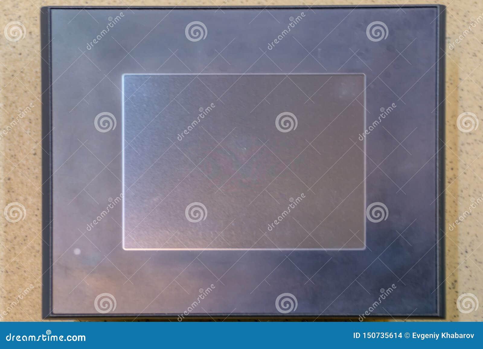?cran tactile Écran noir d affichage à cristaux liquides sur la texture en pierre