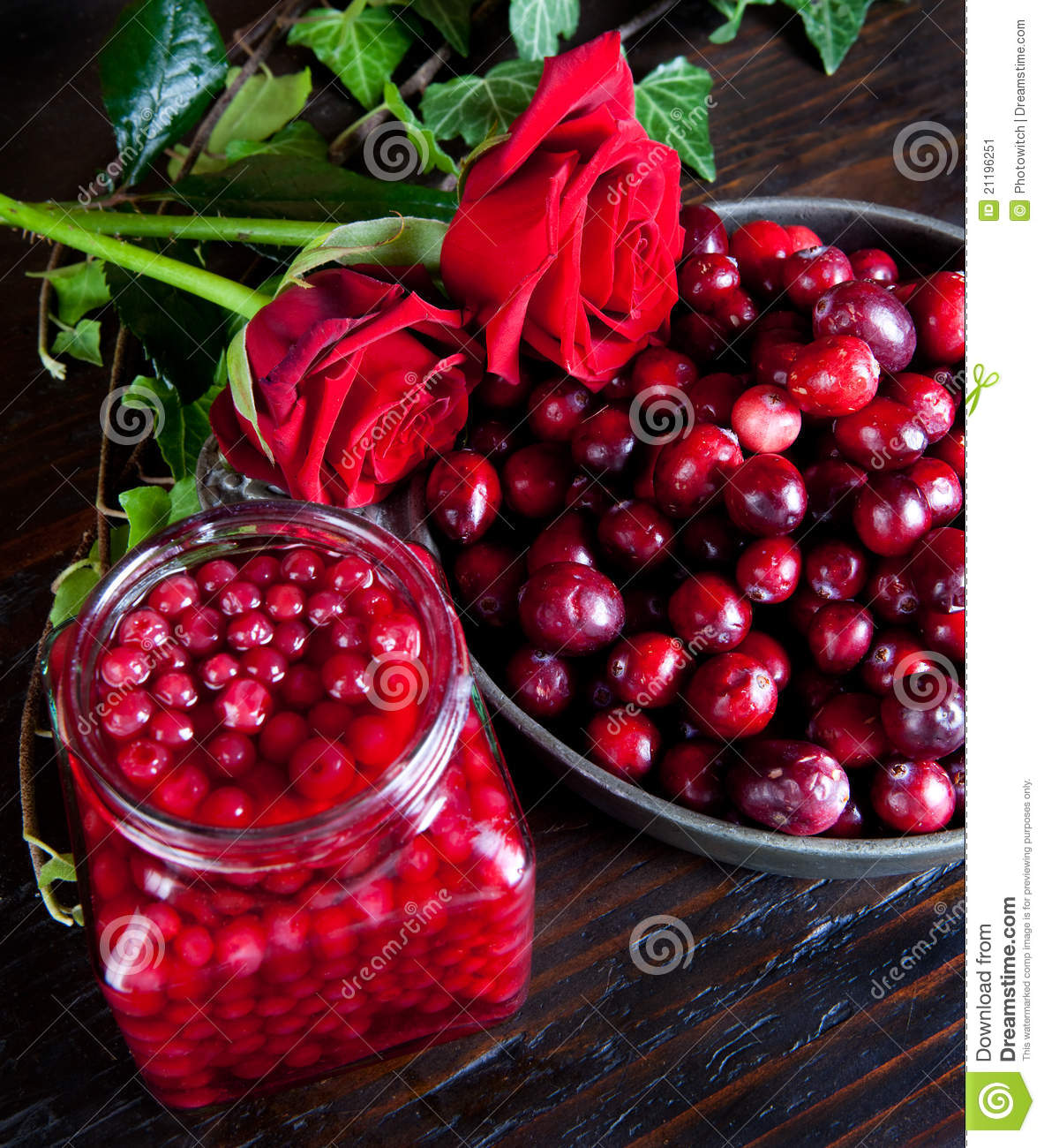 Cranberries and roses