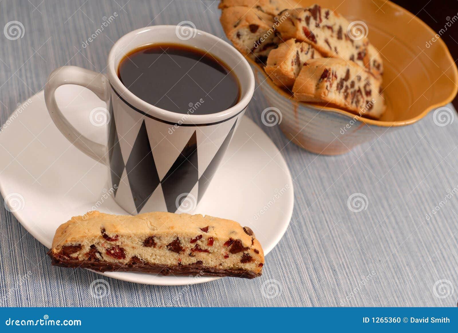 Cranberry för kaffe för biscottichipchoklad
