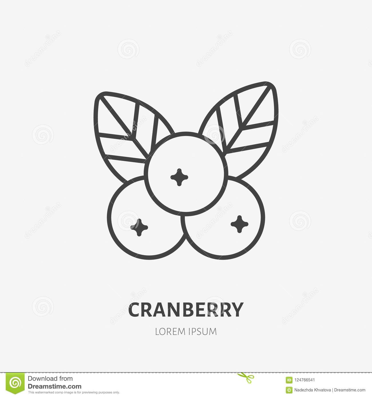 Cranberry flat line icon, forest berry sign, healthy food logo. Illustration of cowberry, lingonberry for natiral food