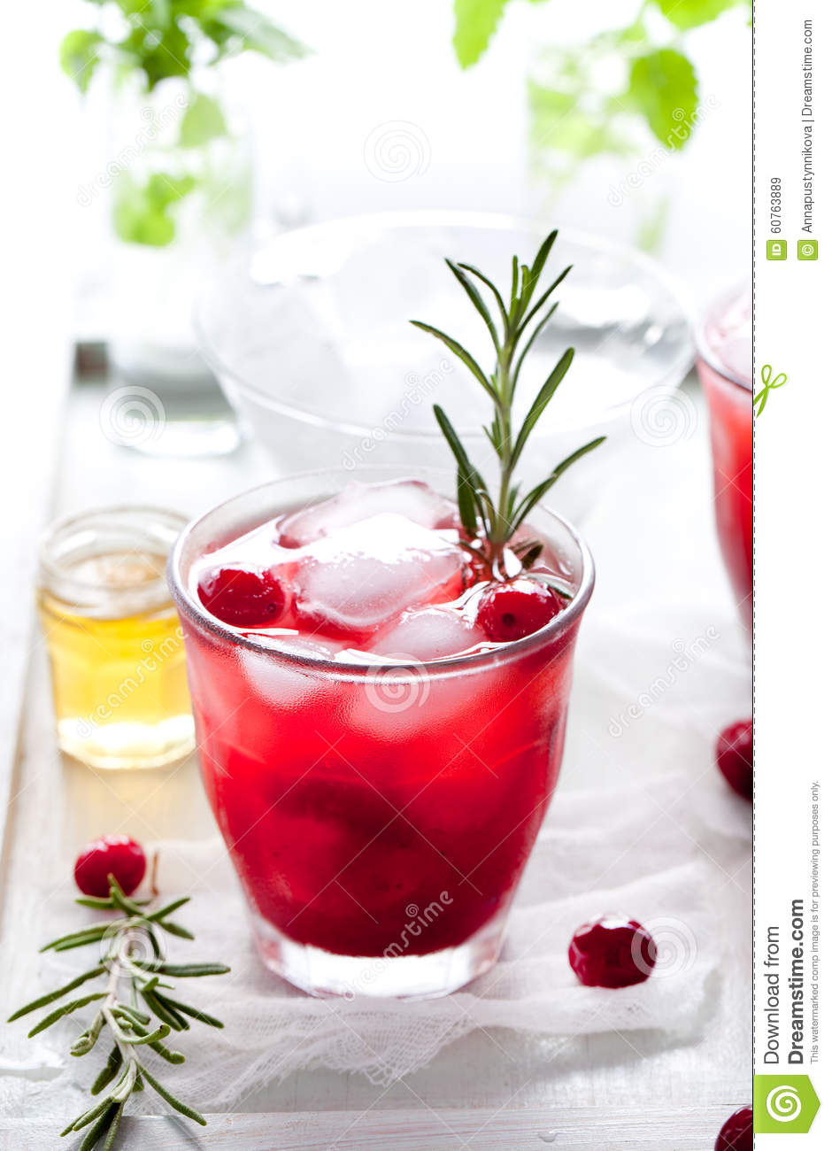 Cranberry Fizz Cocktail Recipe: Cranberry, Rosemary, Gin Fizz, Cocktail Stock Photo