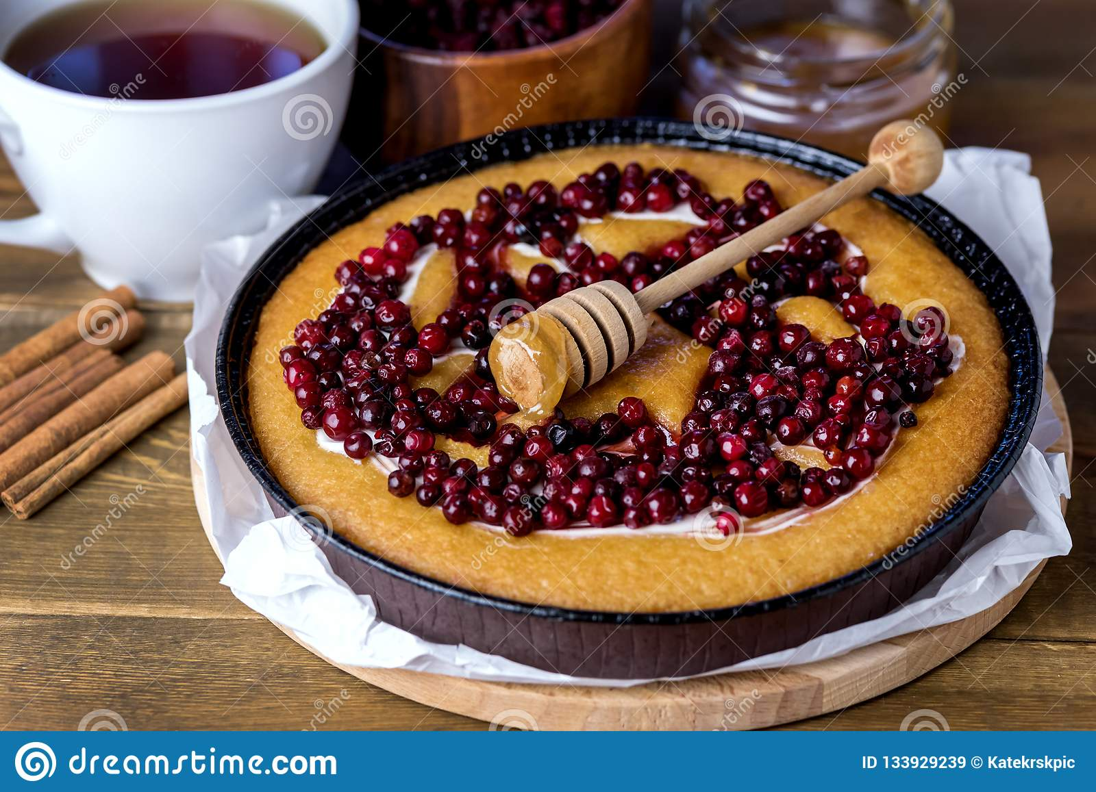 Cranberry Tasty Pie Delicious Cranberry Cake Fresh Cranberries for Christmas or Thanksgiving Day Wooden Background Homemade