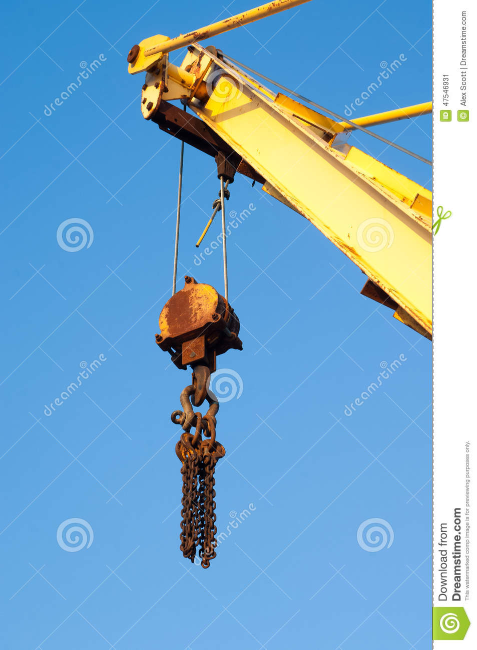 Pulleys In Cranes : Crane jib and pulley stock photo image