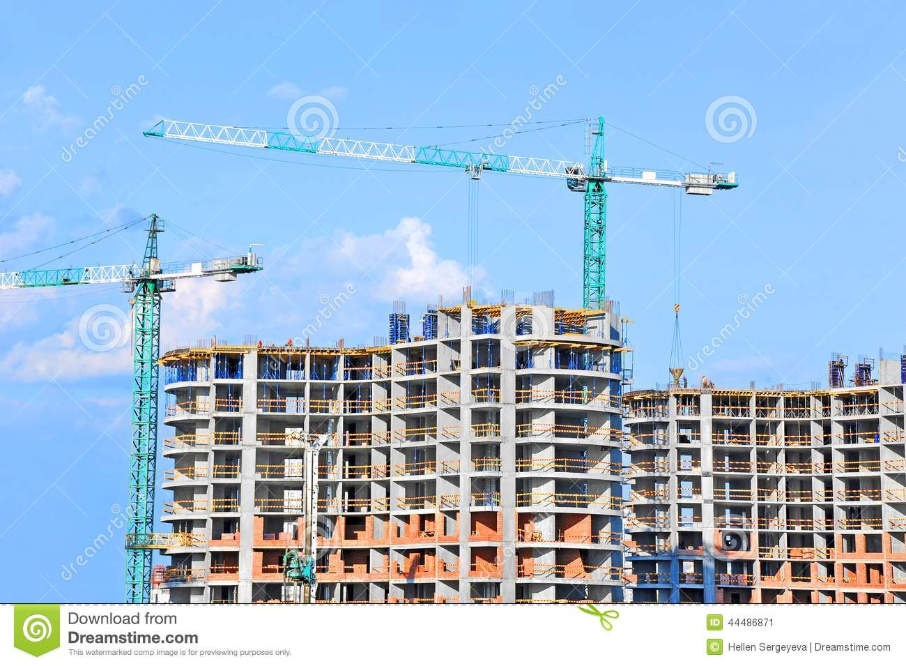 Crane and construction site stock photo image 44486871 for Images of building sites
