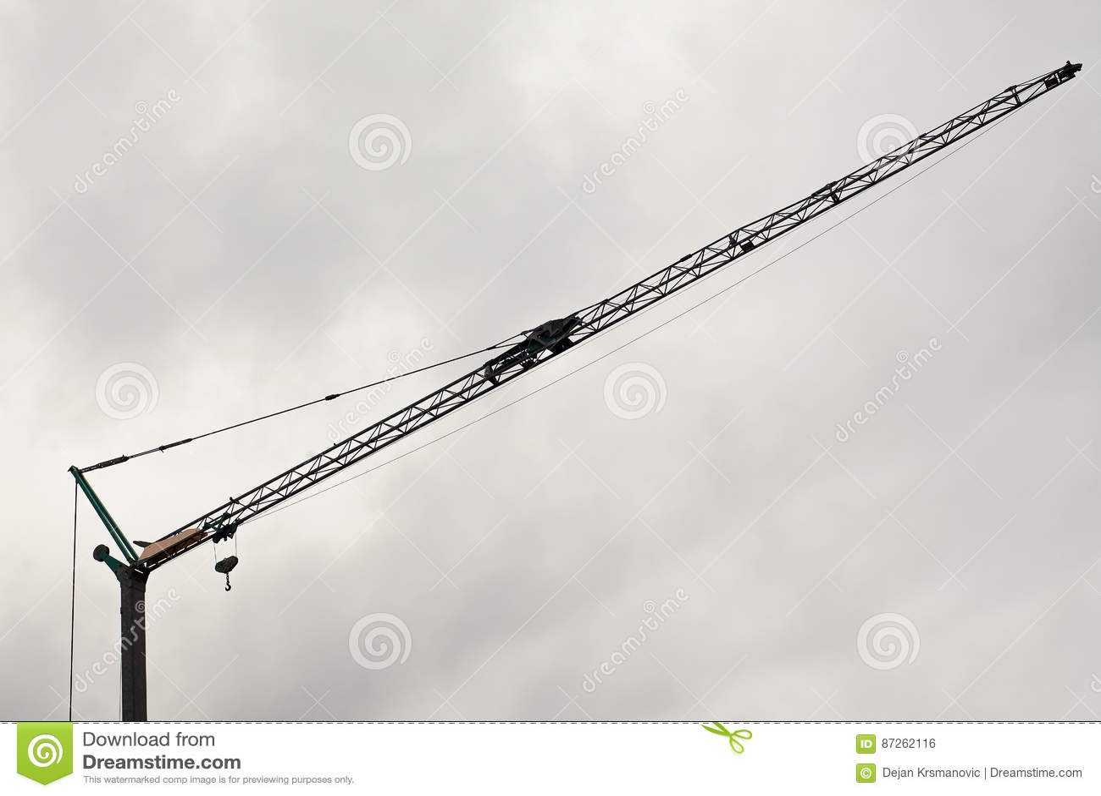 Crane Details and Cloudy Sky
