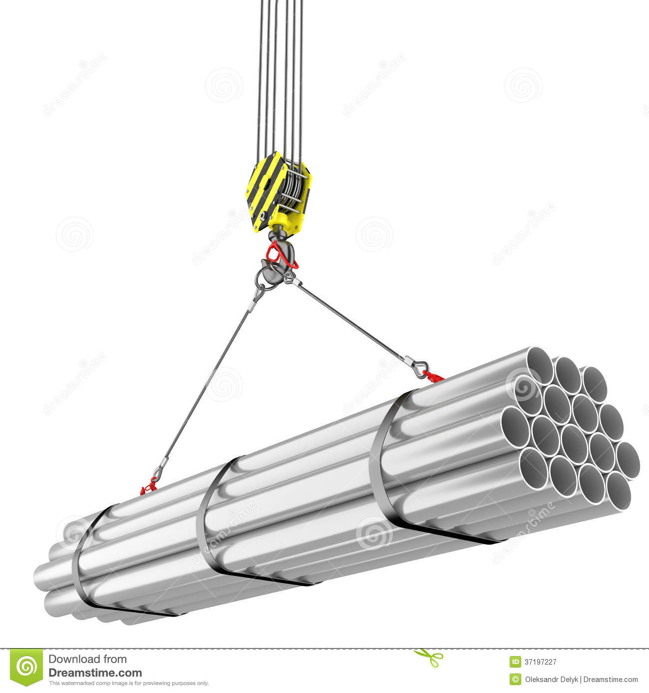 Steel Lifting : Crane hook lifting of steel pipes stock illustration