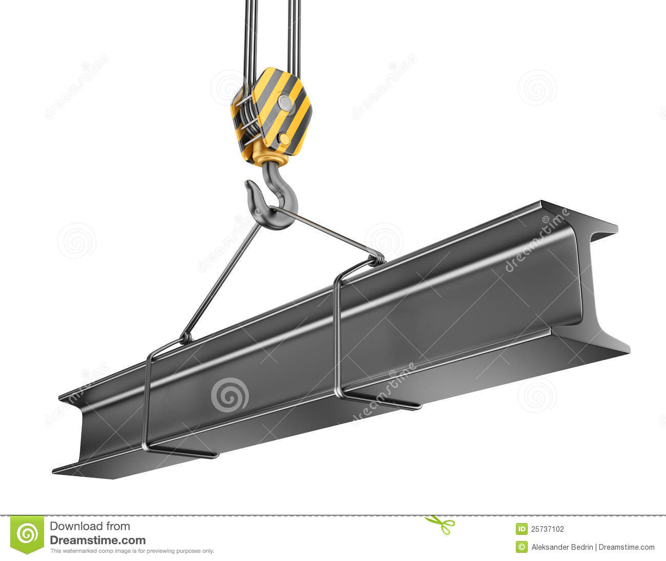 Crane hook with steel girder 3D.