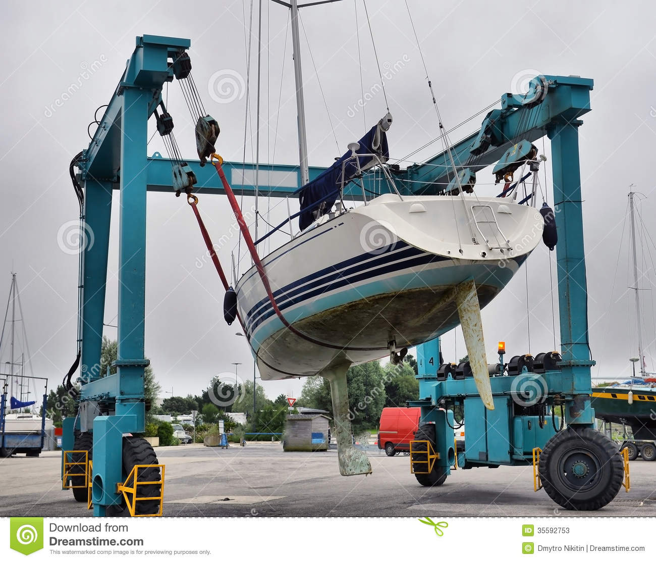 Crane Lifting Boats Stock Photos - Image: 35592753