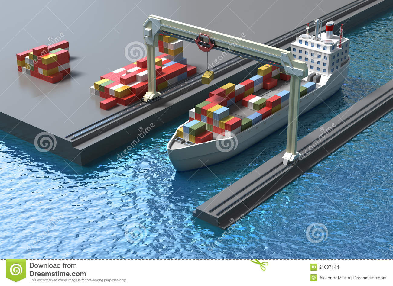 Crane Lifting Cargo Container And Loading The Ship Stock Images - Image: 21087144