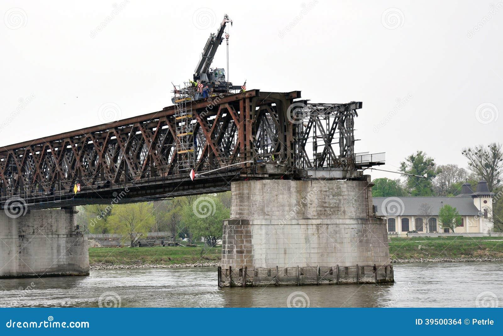 Crane on the old bridge