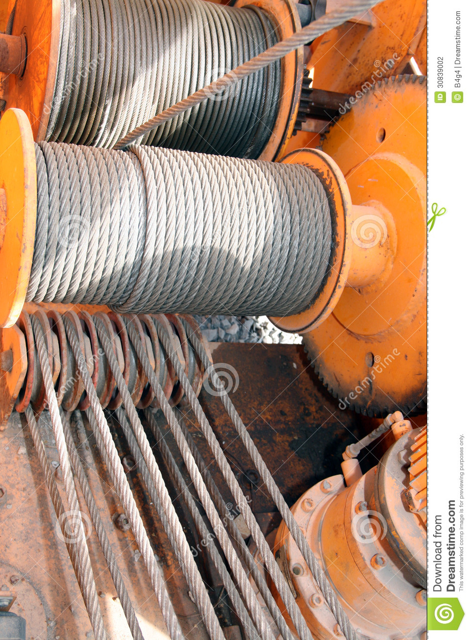 Pulleys In Cranes : Crane pulleys and cables stock photo image of tonnage