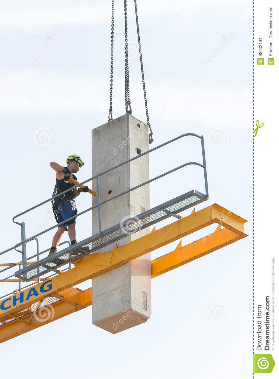 Crane removal worker