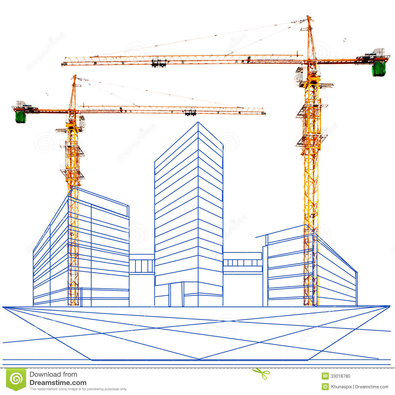 Crane And Two Point Perspective Of Building In
