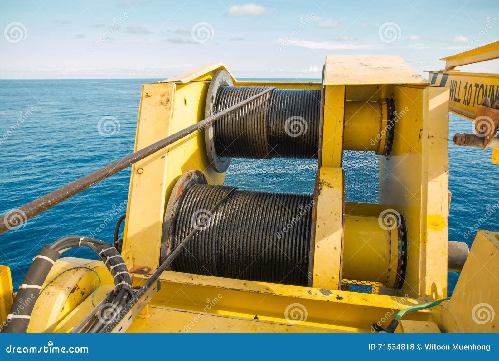 Crane Winch, Steel Wire Rope Drum. Stock Photo - Image of energy ...