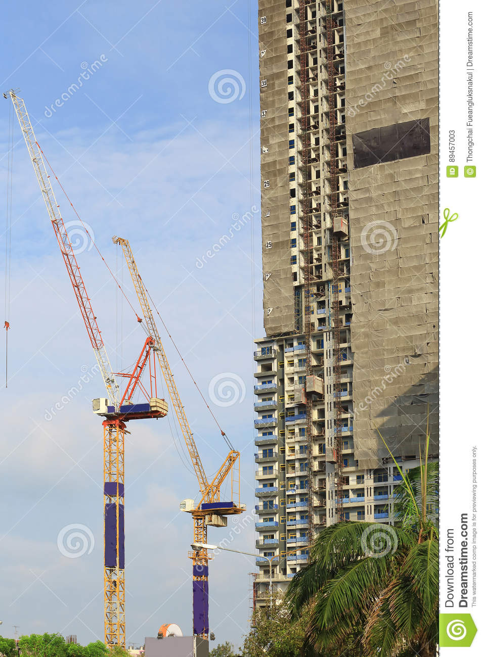 Cranes in construction site with blue sky and cloud.