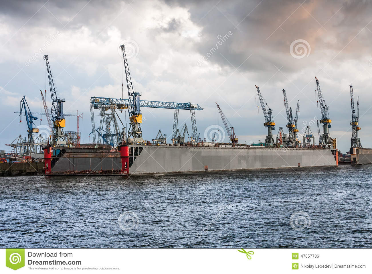 cranes on a floating dock in hamburg stock photo image 47657736. Black Bedroom Furniture Sets. Home Design Ideas