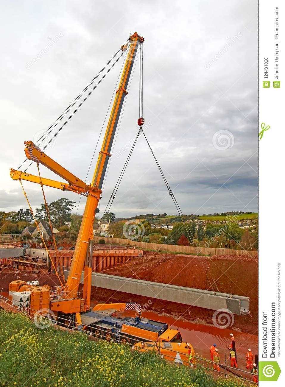 Mobile crane at work editorial stock photo  Image of works