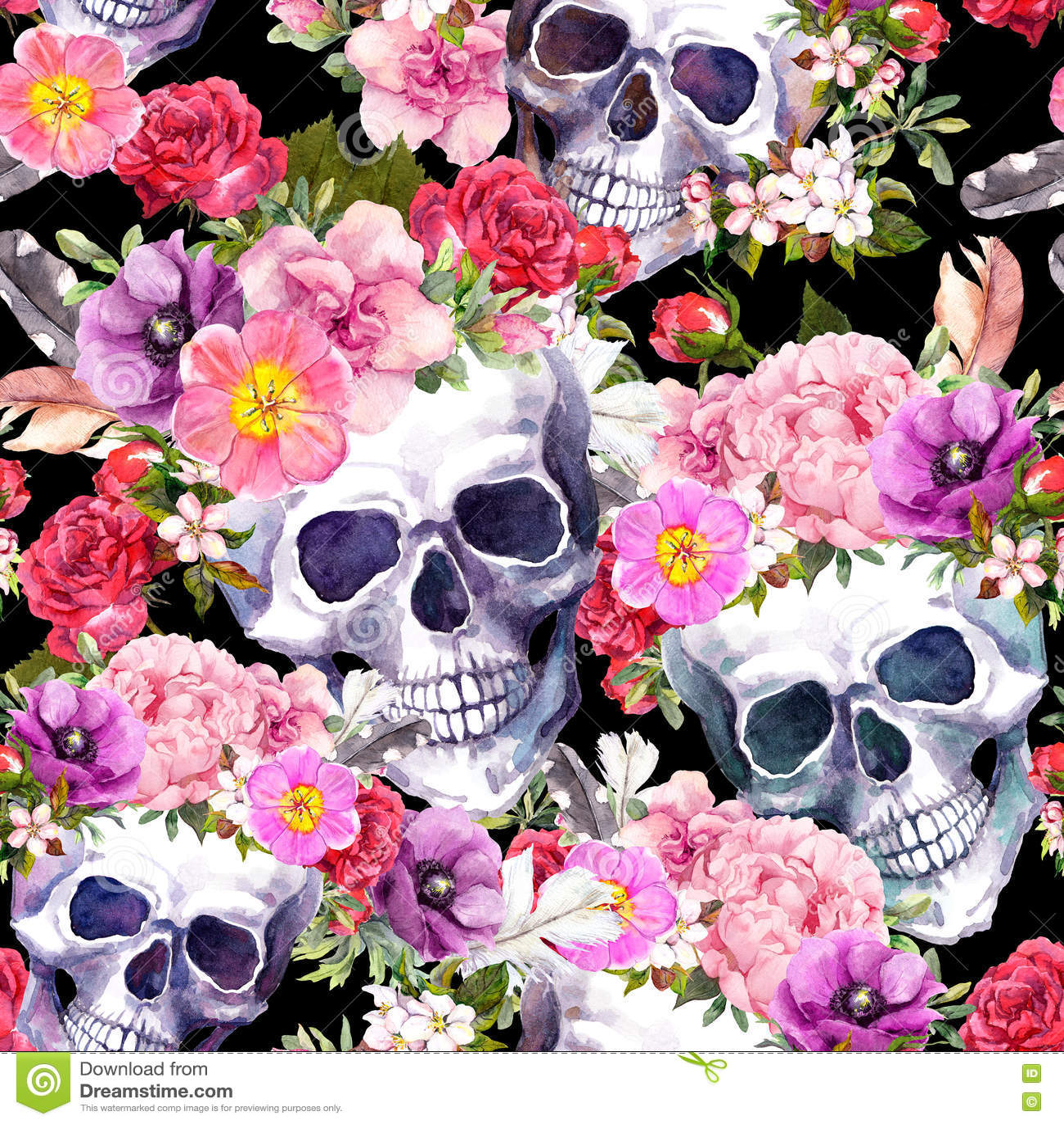 Crani umani, fiori Reticolo senza giunte watercolor