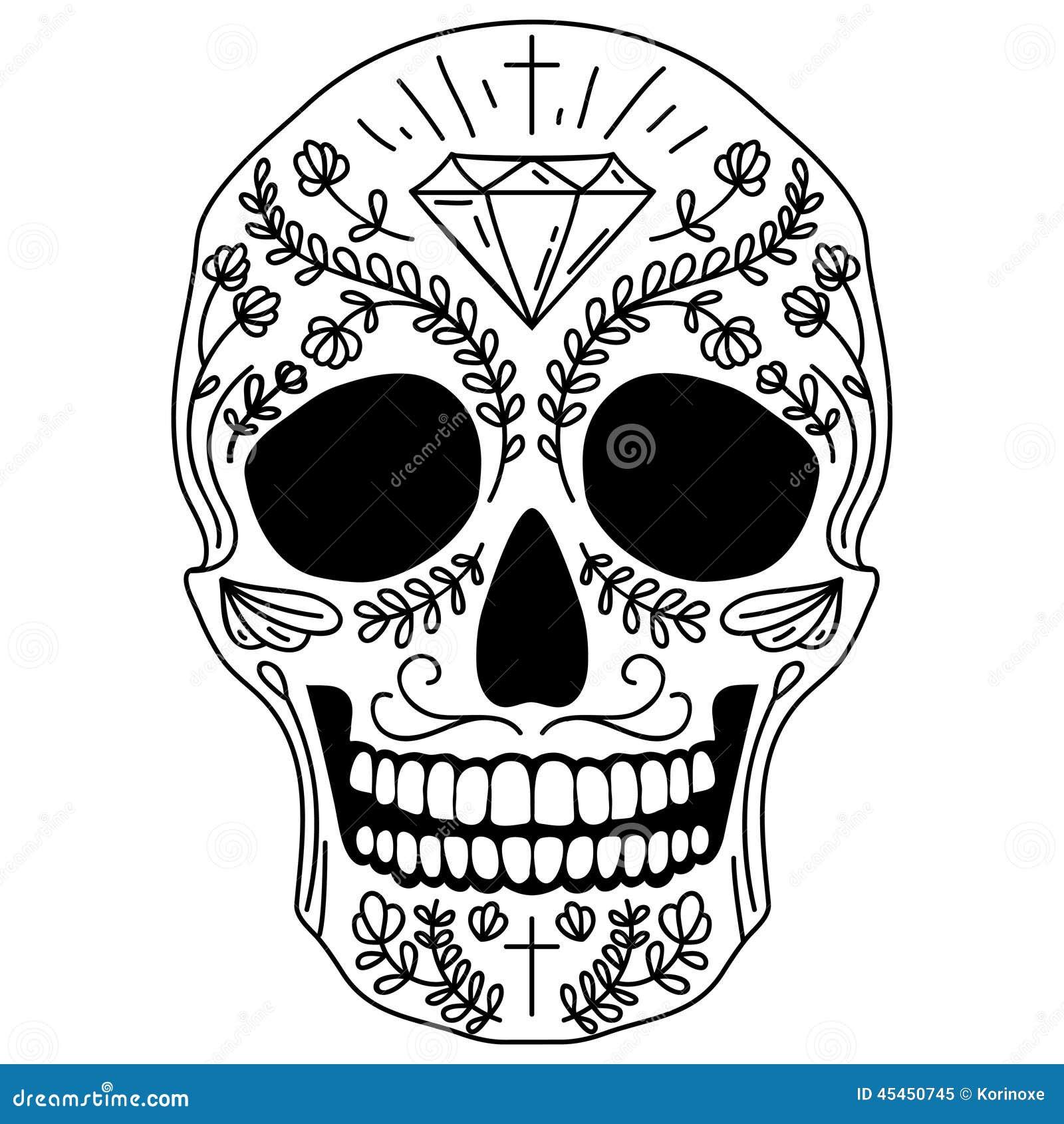 Cranio in bianco e nero dello zucchero