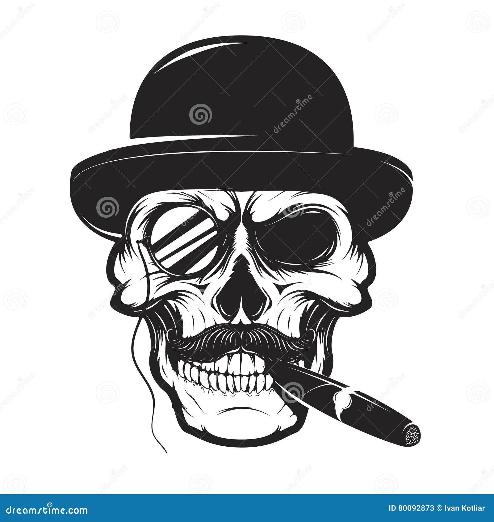 Cranio In Cappello Con Il Sigaro Ed Il Monocolo Elemento Per Il Logo ... 8a24ebd70458