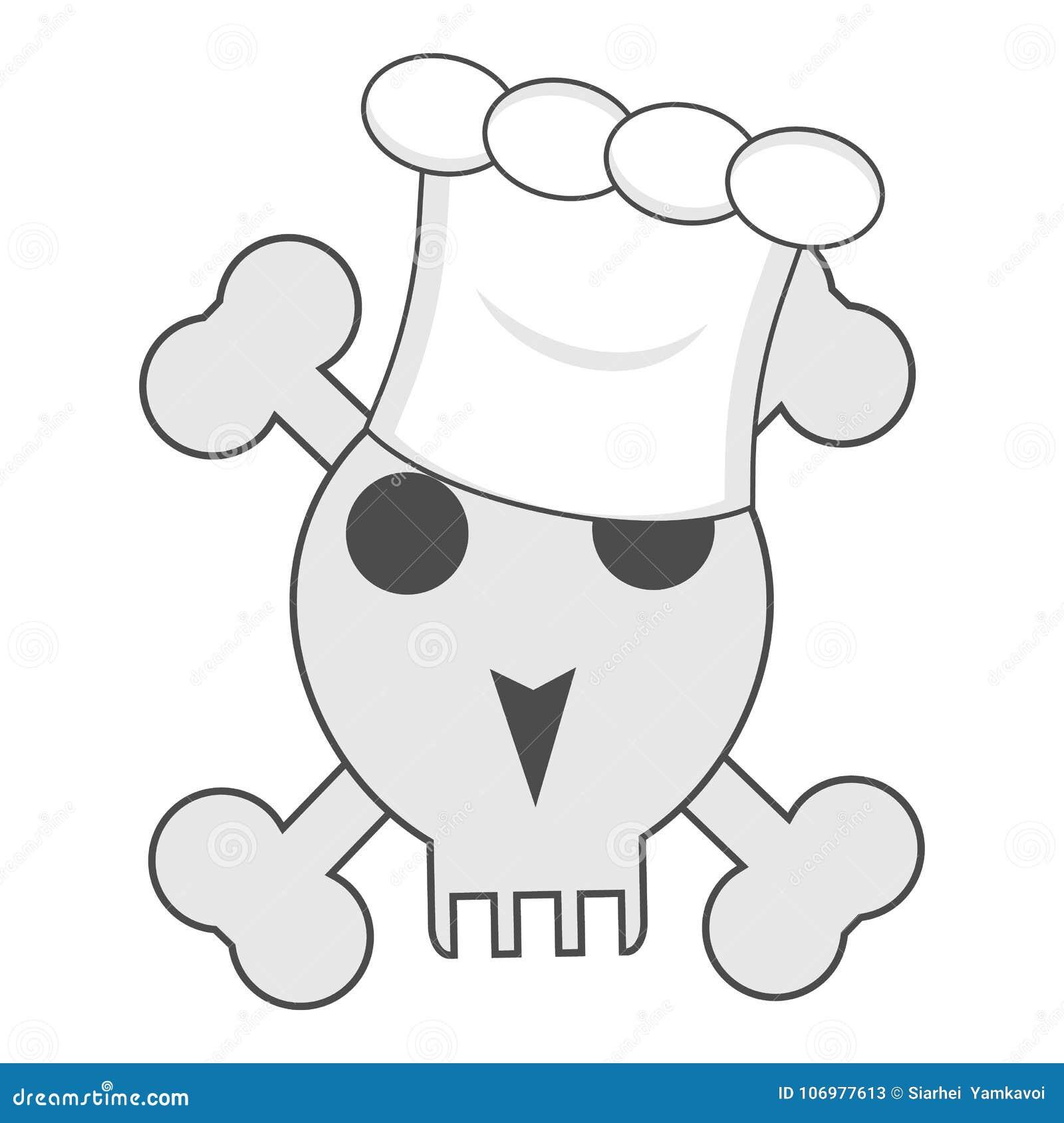 Cranio con le ossa nel cappello del cuoco del cuoco unico