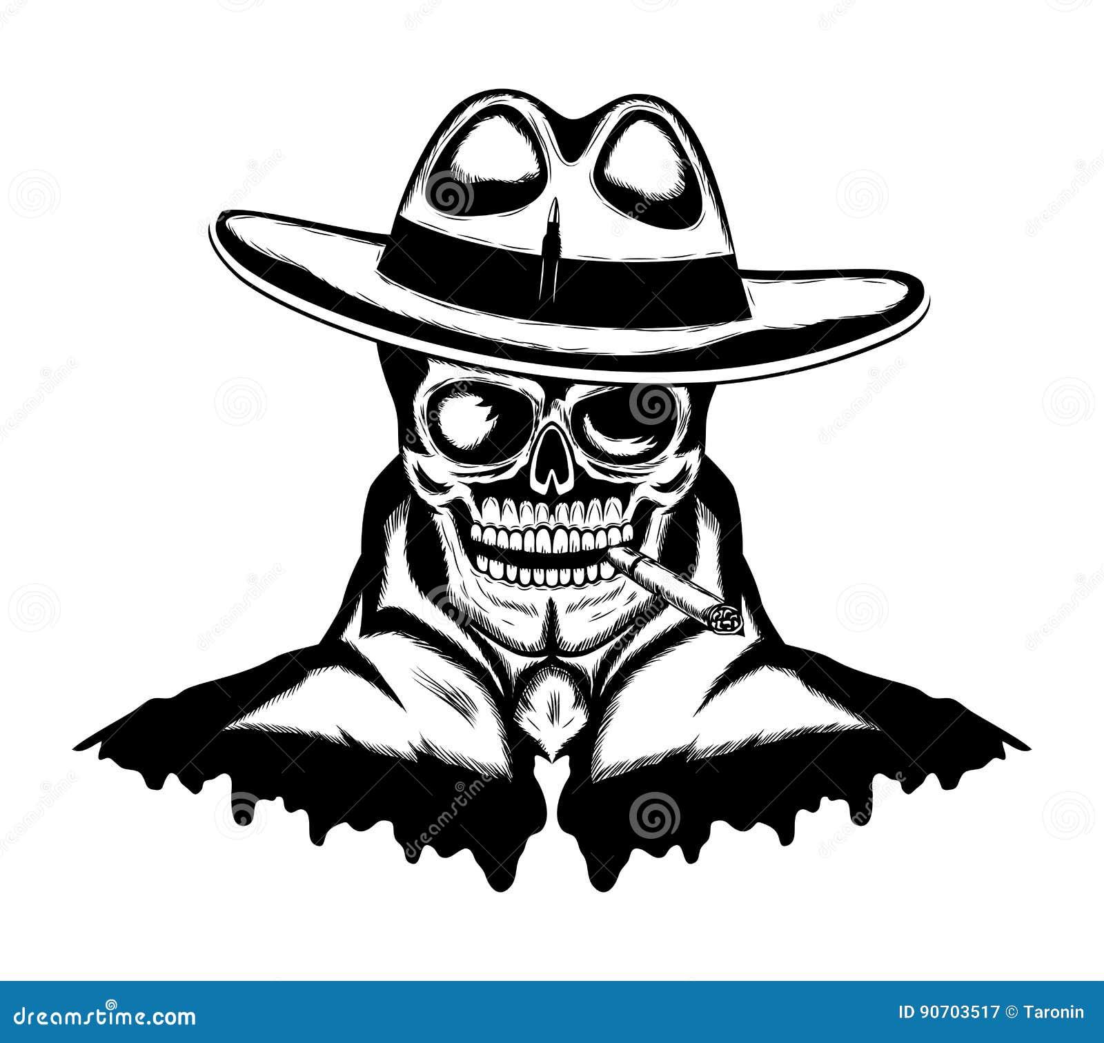 Cranio con un sigaro illustrazione vettoriale. Illustrazione di ... 52856a09b81c
