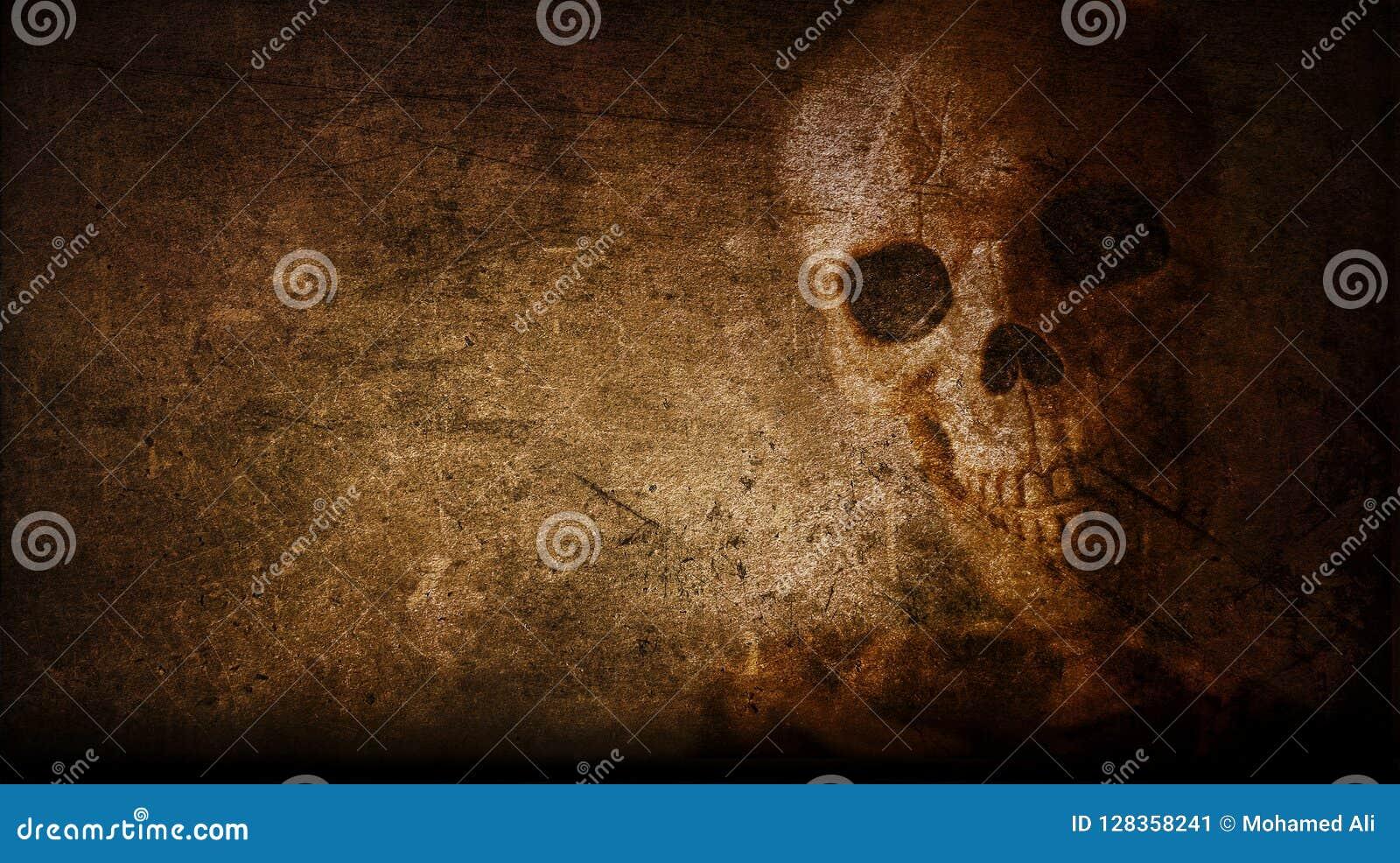Cranio d annata artistico astratto dipinto su un fondo della parete