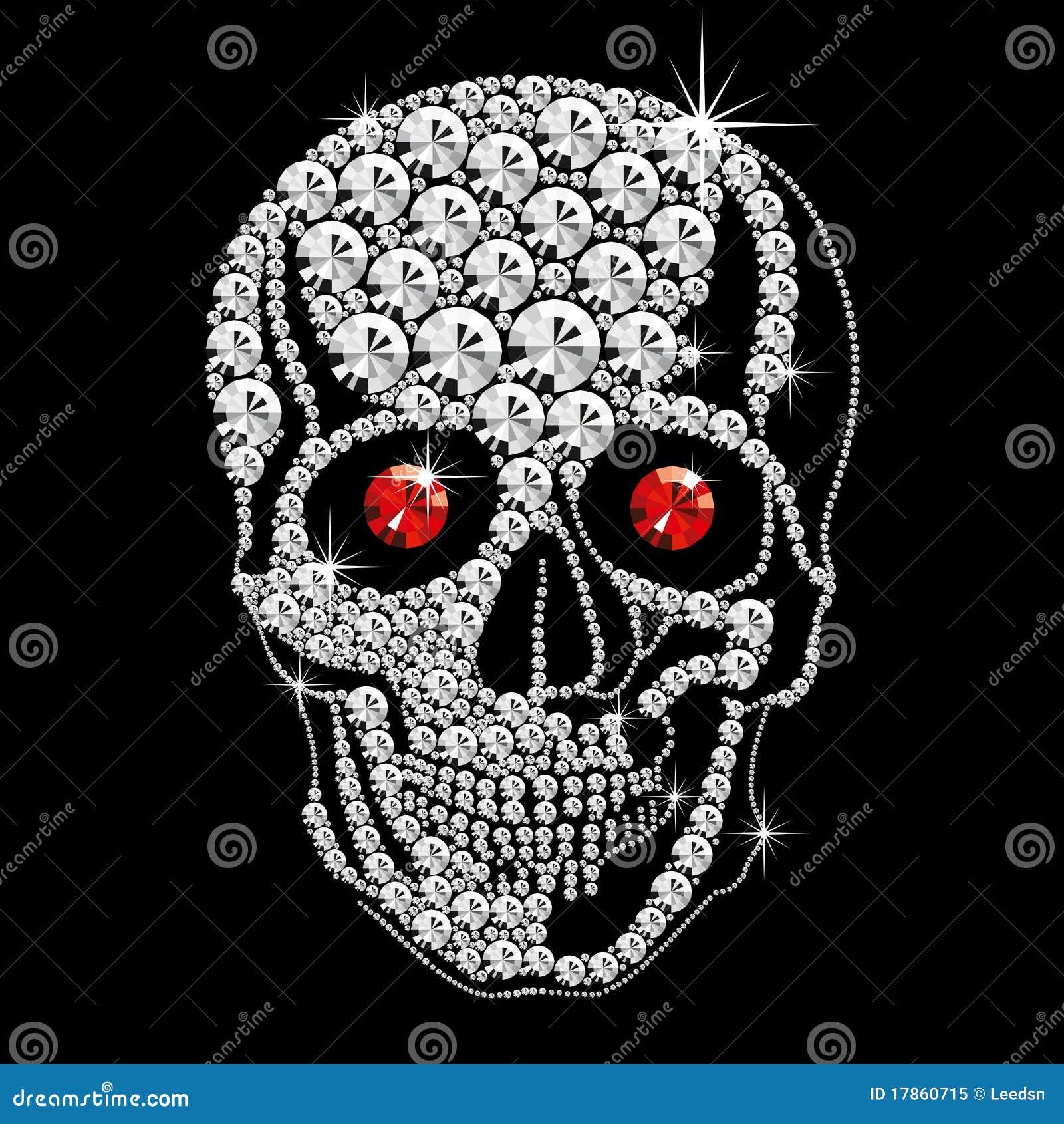 Cranio Del Diamante Con Gli Occhi Rossi Illustrazione Vettoriale ...