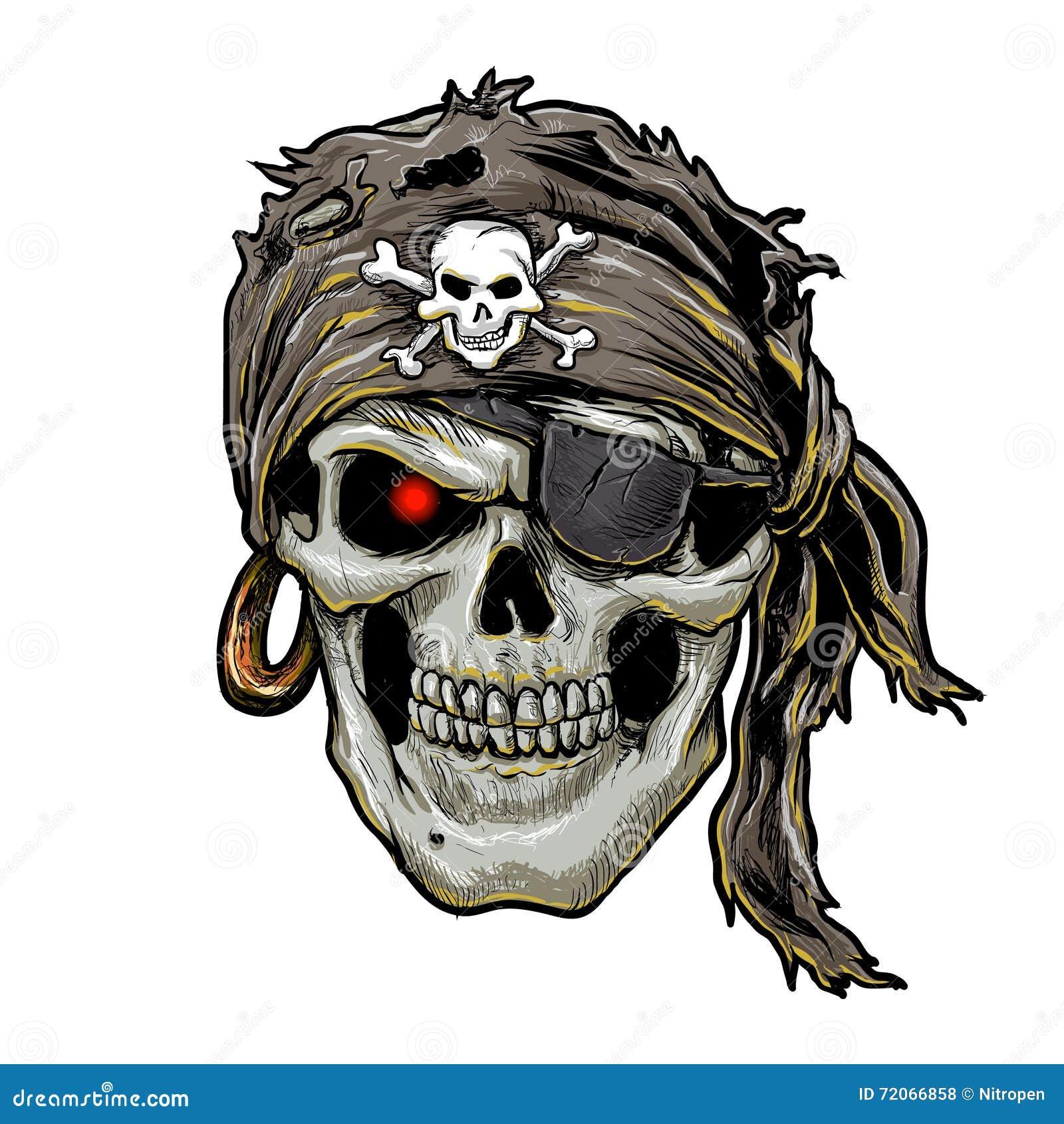 Cranio del pirata con la bandana nera Arte del cranio