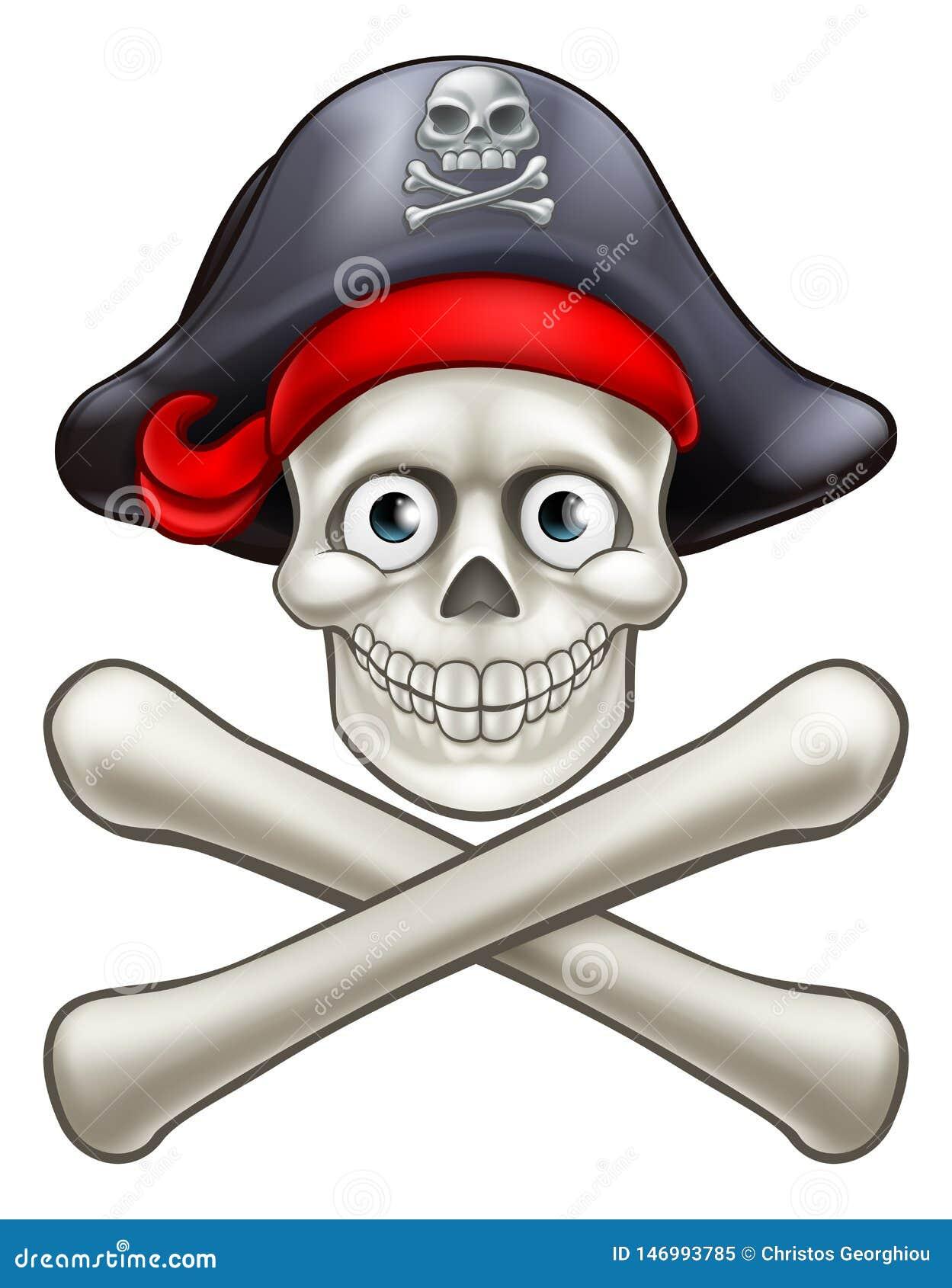 Cranio del pirata e fumetto di tibie incrociate