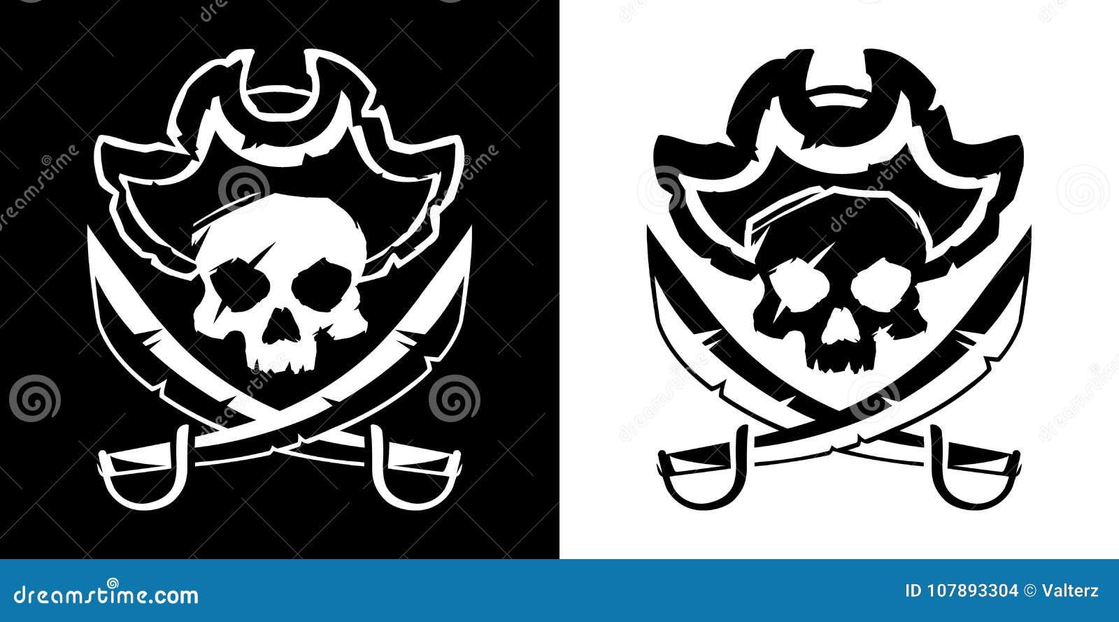 Cranio di Jolly Roger in un cappello ed in un vettore attraversato di simbolo delle spade