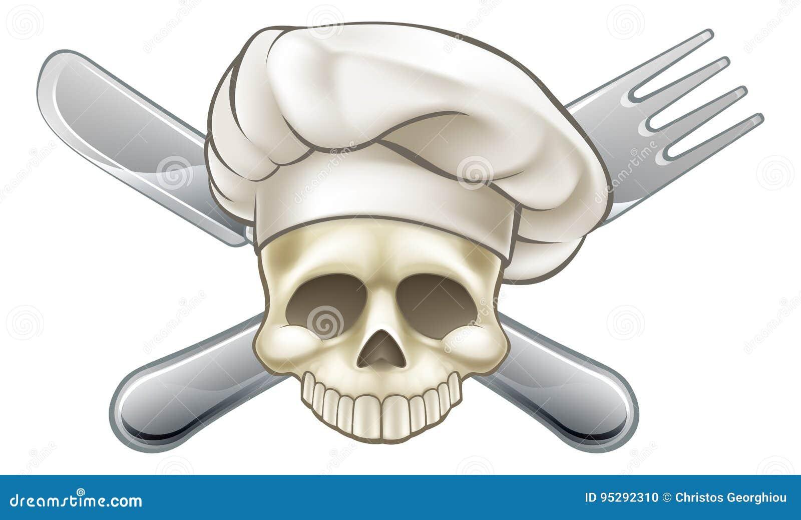 Cranio e cuoco unico di tibie incrociate