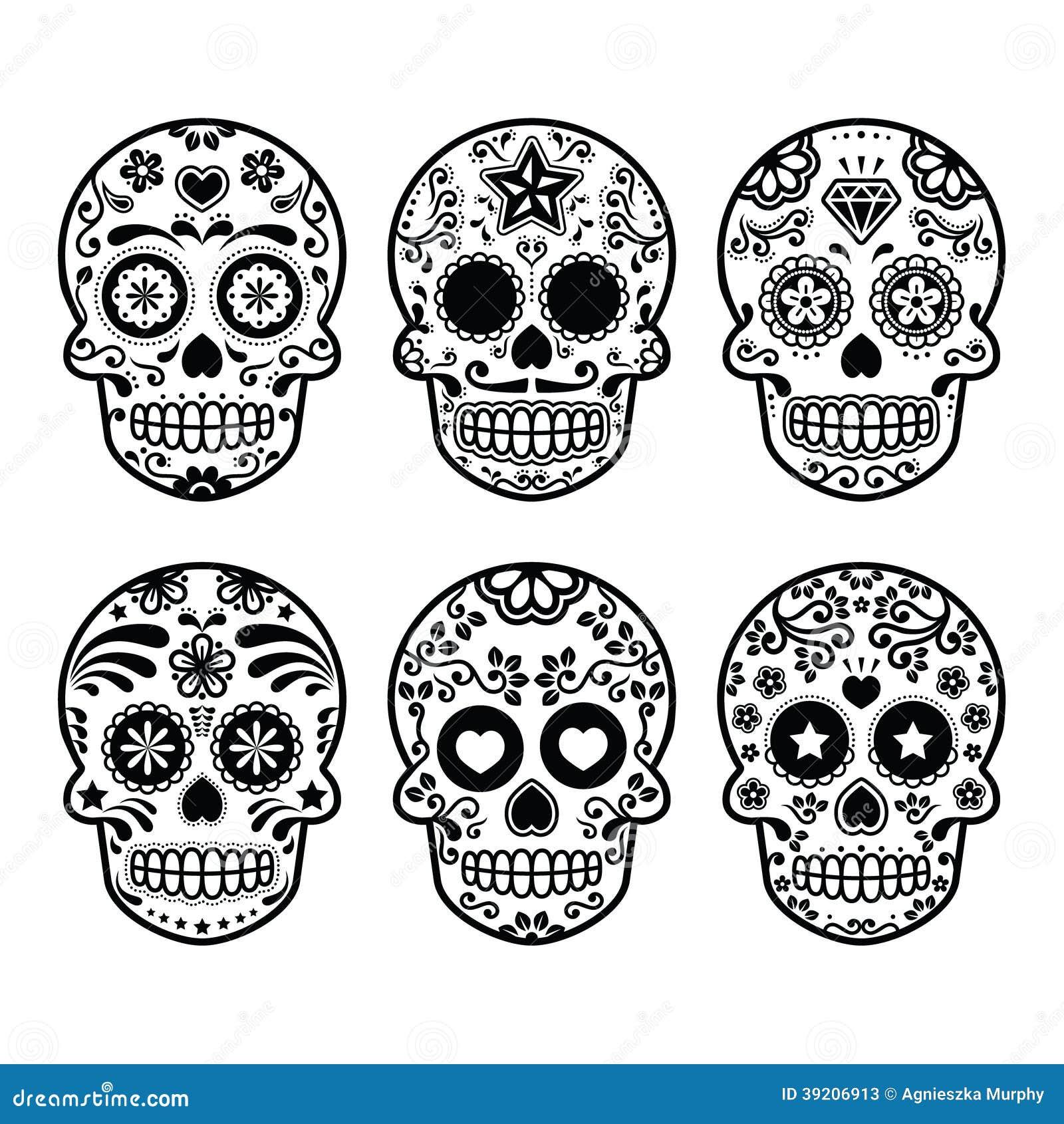 Cranio messicano dello zucchero, icone di Dia de los Muertos messe