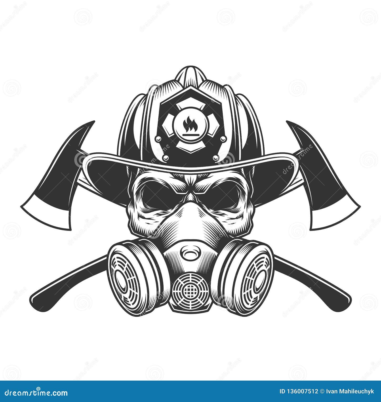 Cranio monocromatico d annata del pompiere