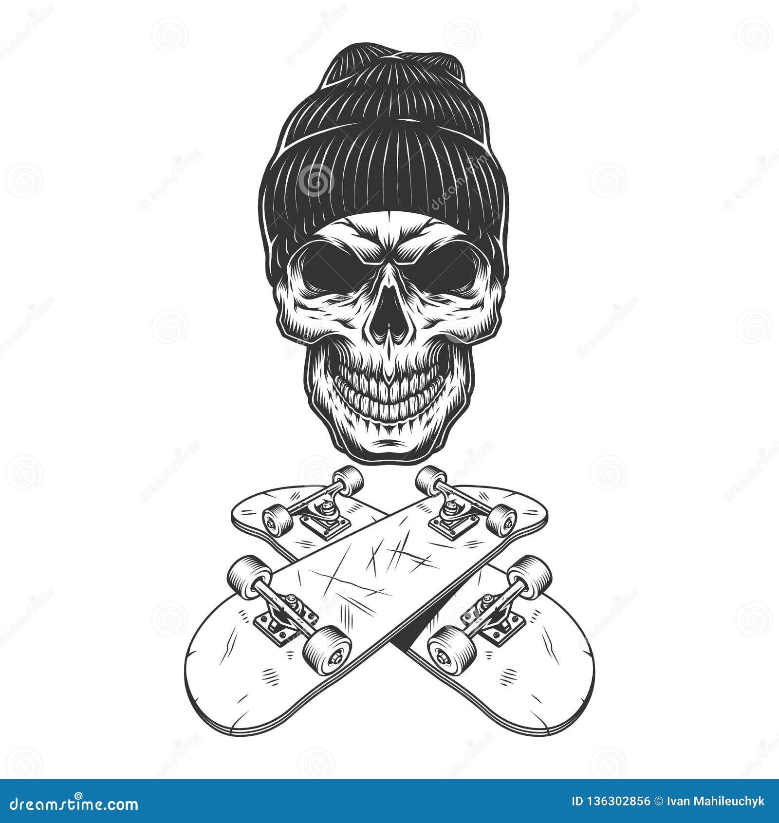 Cranio monocromatico d annata del skateboarder