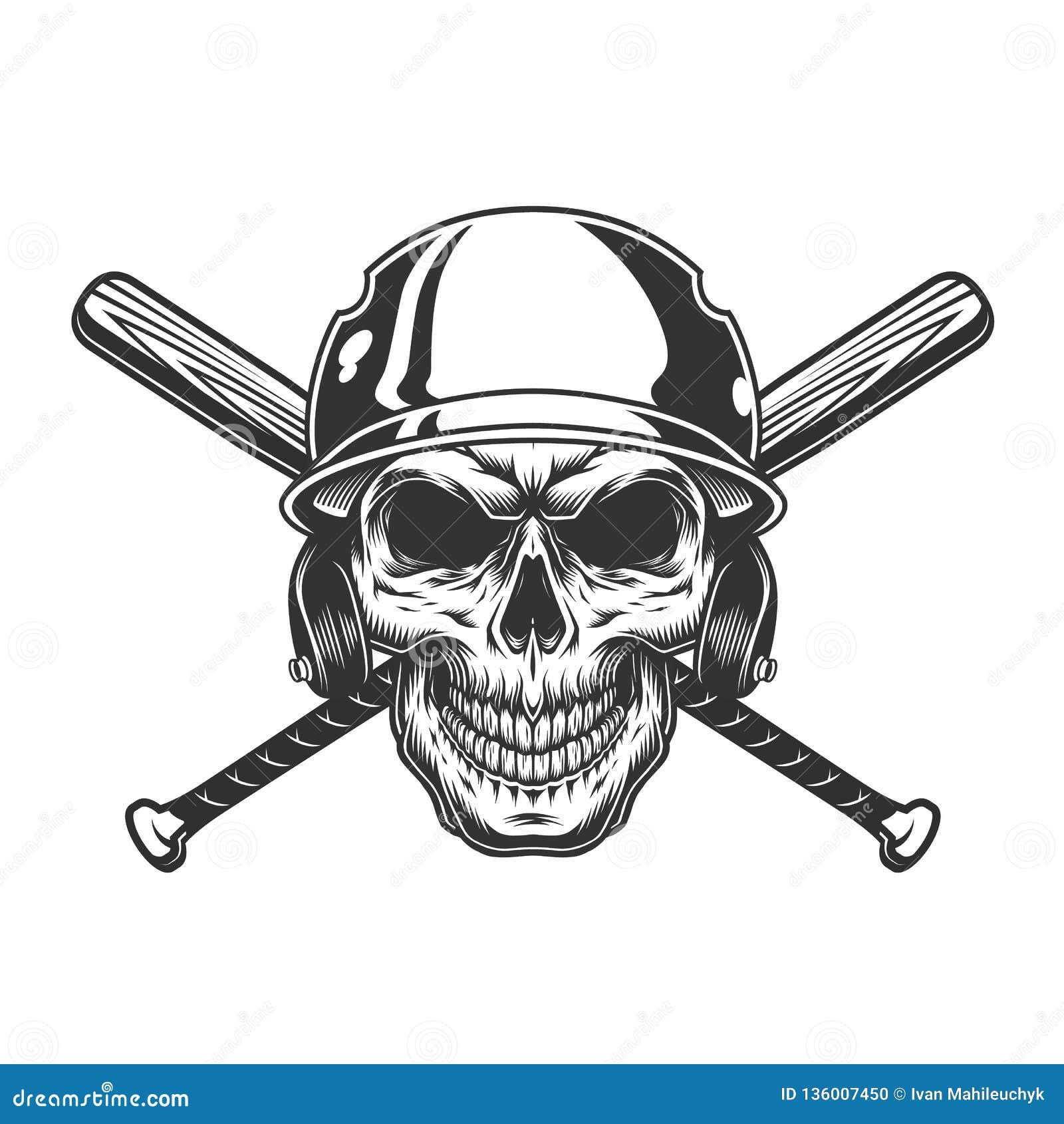 Cranio monocromatico d annata nel casco di baseball