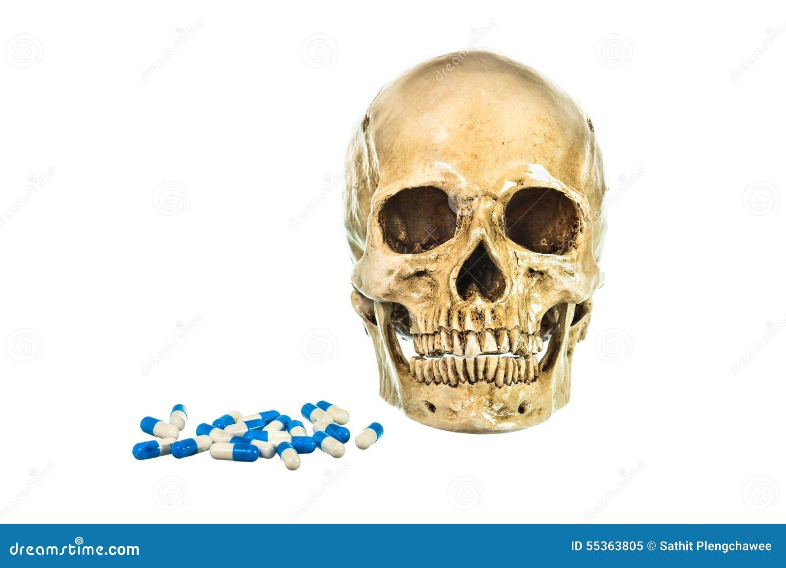 Cranio umano con la pillola su fondo bianco, struttura