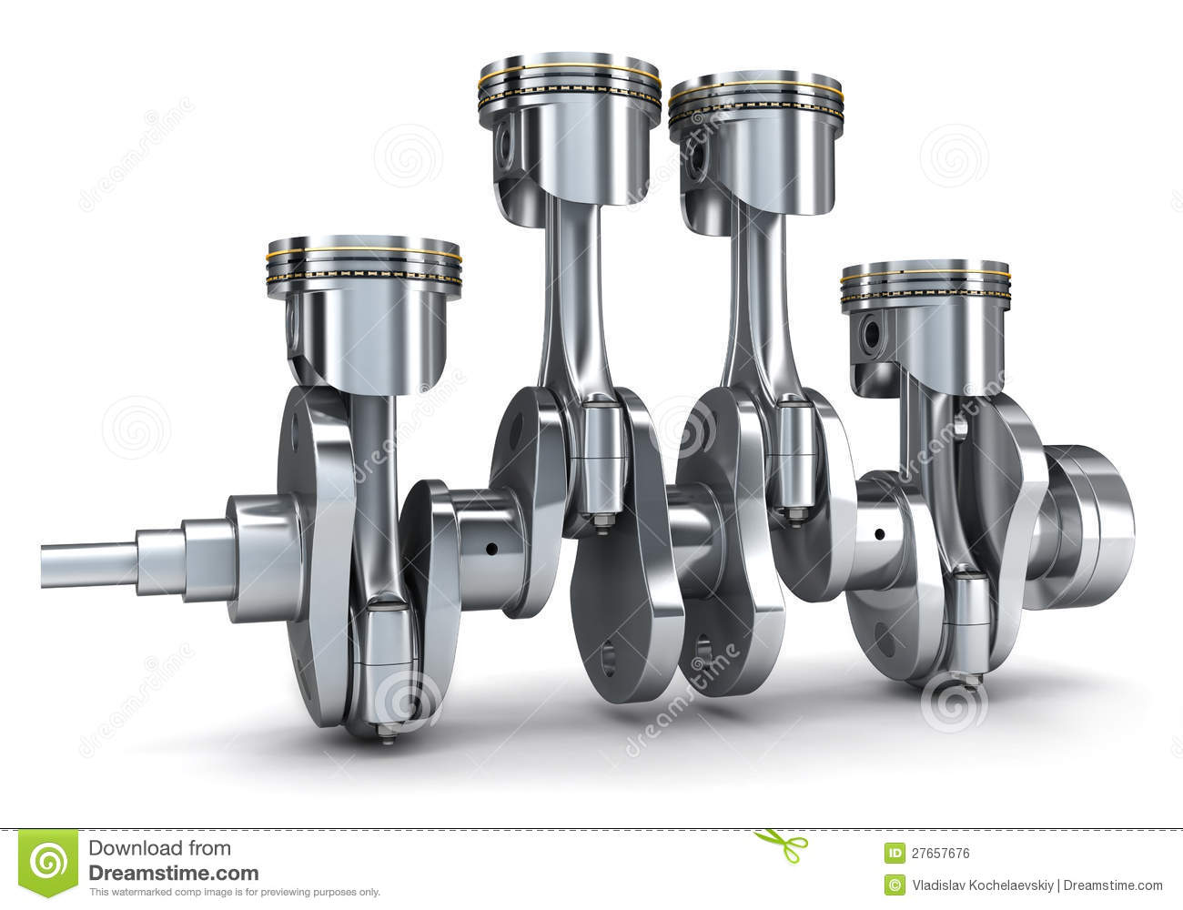 crankshaft and pistons royalty free stock image
