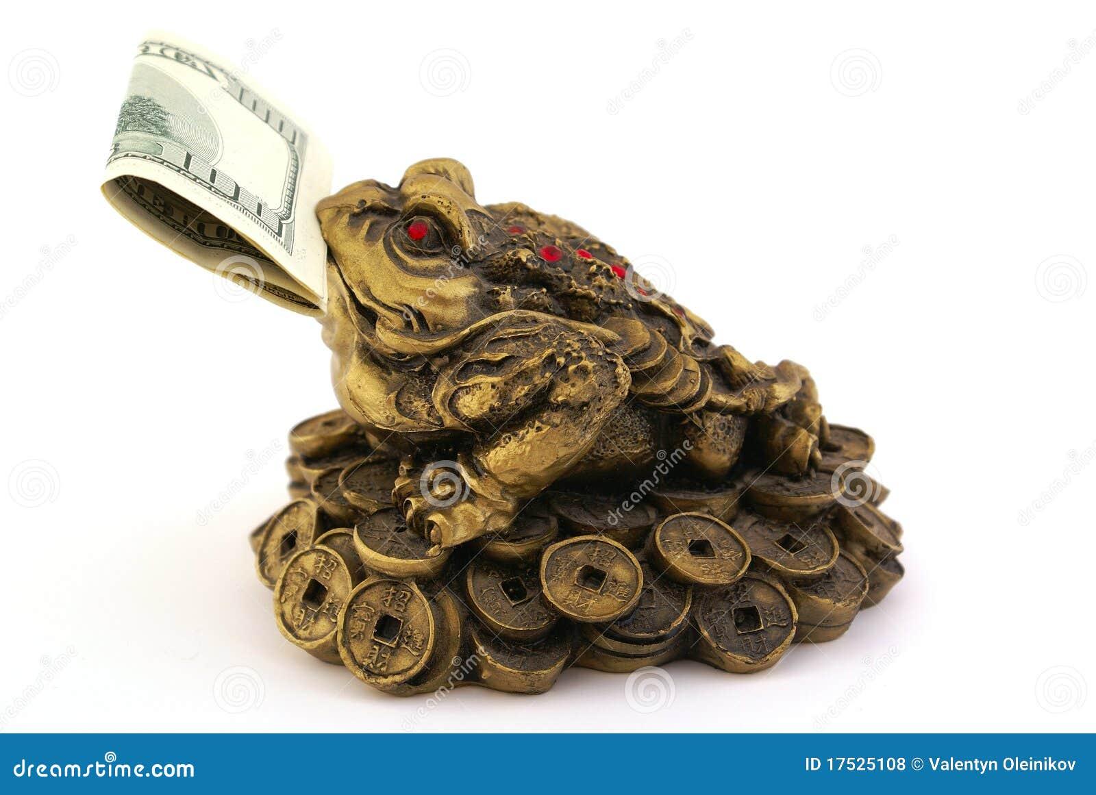 crapaud d 39 argent de feng shui avec cents dollars photos libres de droits image 17525108. Black Bedroom Furniture Sets. Home Design Ideas