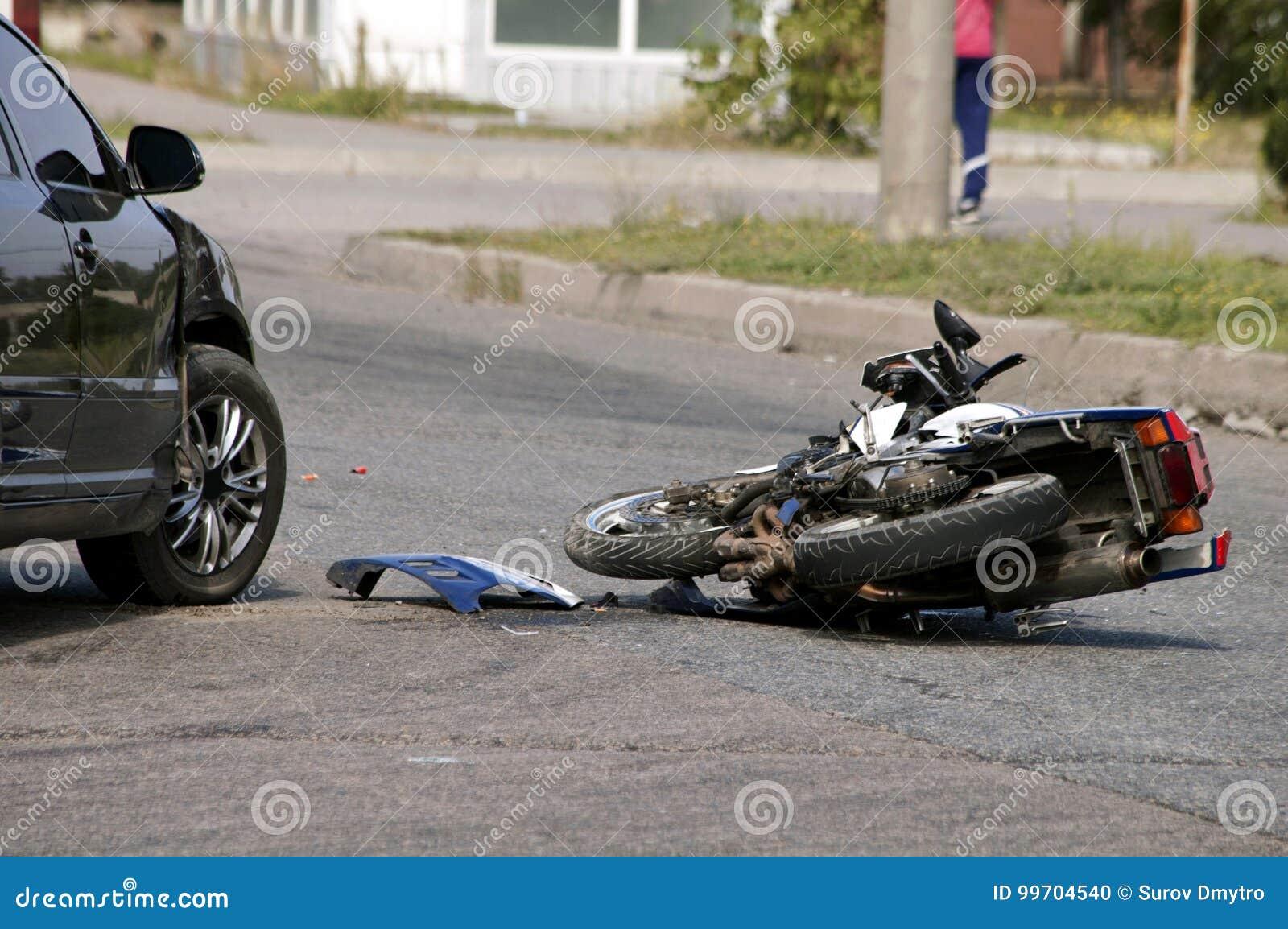 crash moto bike and car on road stock photo image of danger