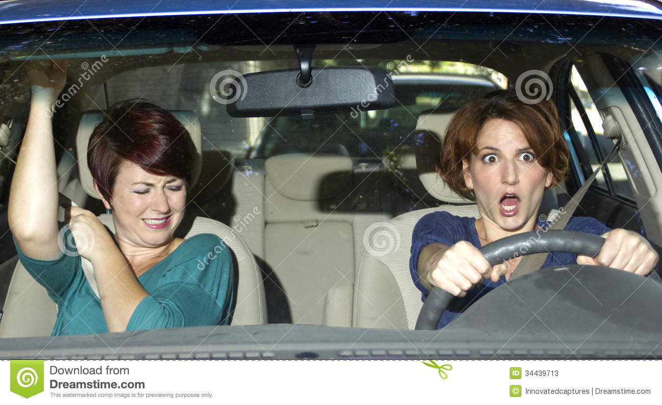 Front Car Passenger Driving Stock