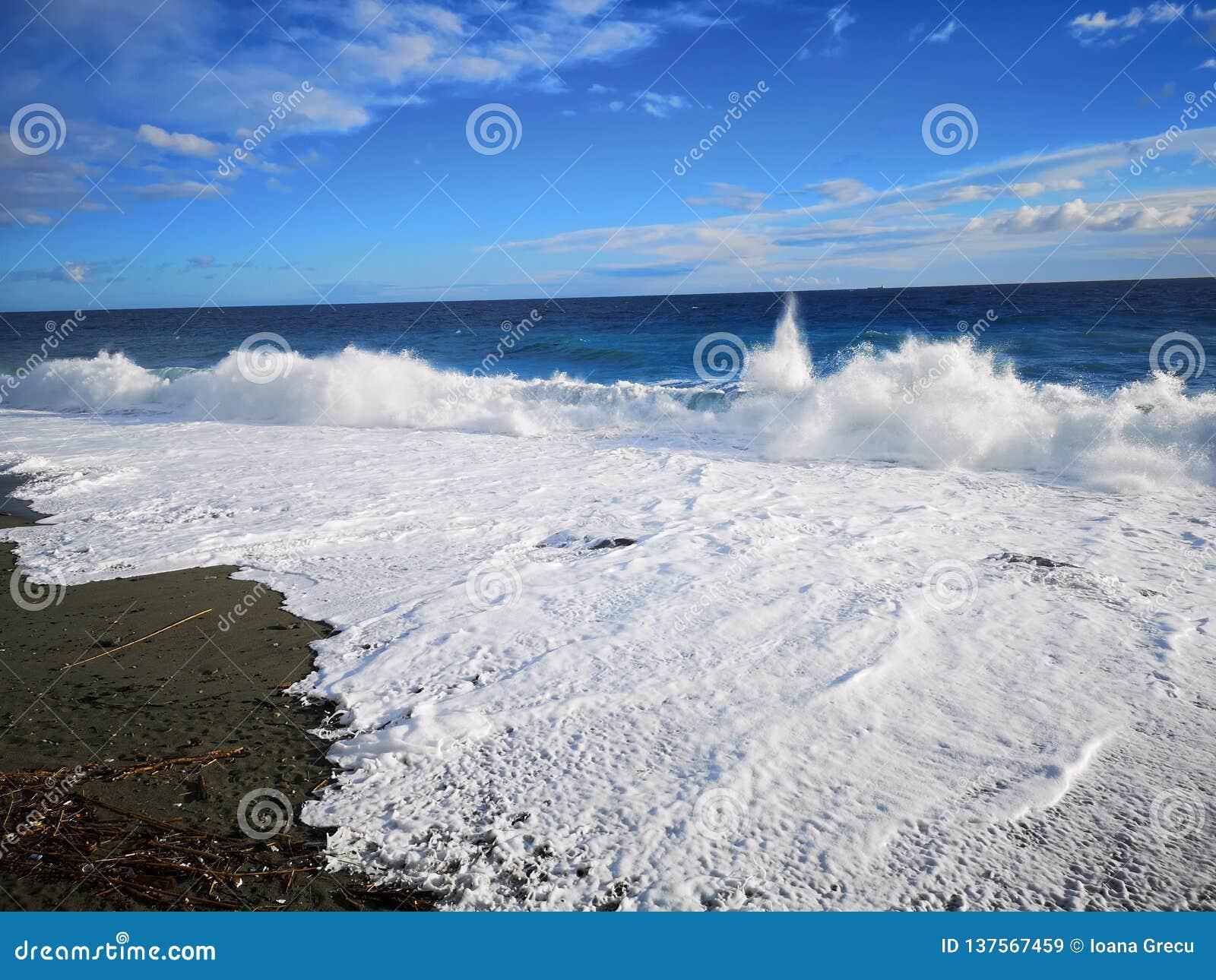 Crashing waves on beach